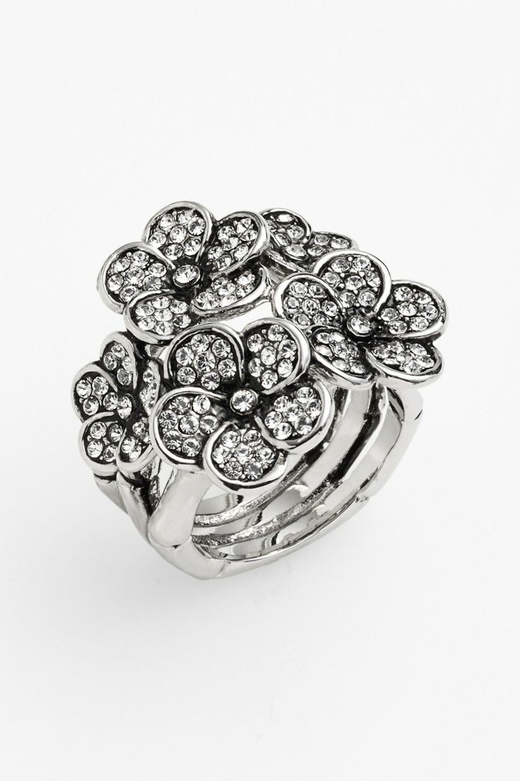 Ariella Collection Pave Flower Cocktail Ring