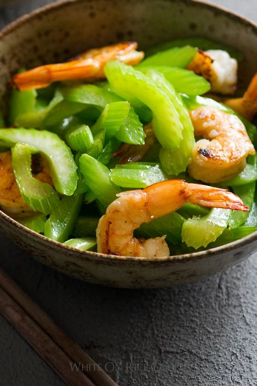 Healthy Asian Celery Shrimp Stir fry Recipe   @whiteonrice  --  Maybe with chicken, pork, or beef.  I don't like shrimp.********************************************************************************************