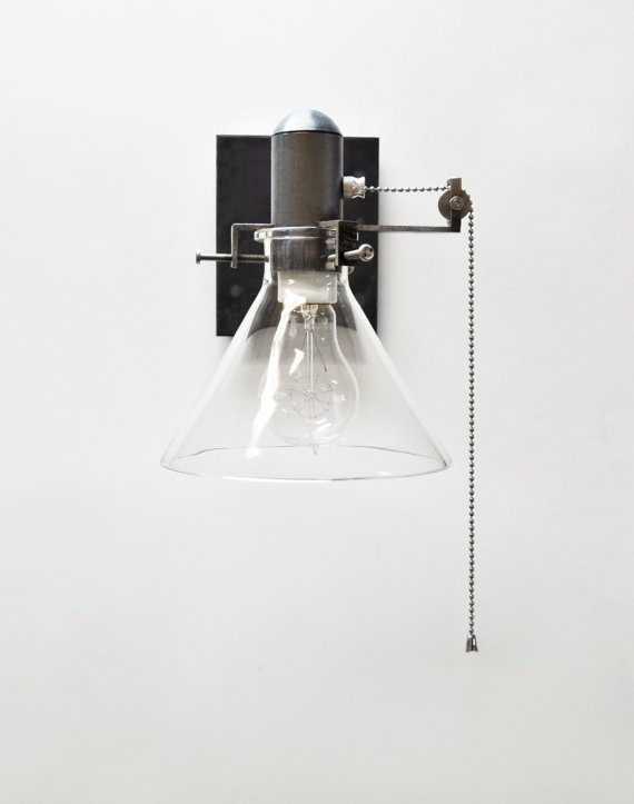 wall sconce pull chain fixture – beautiful and bare with clean lines. metal and glass at its best.