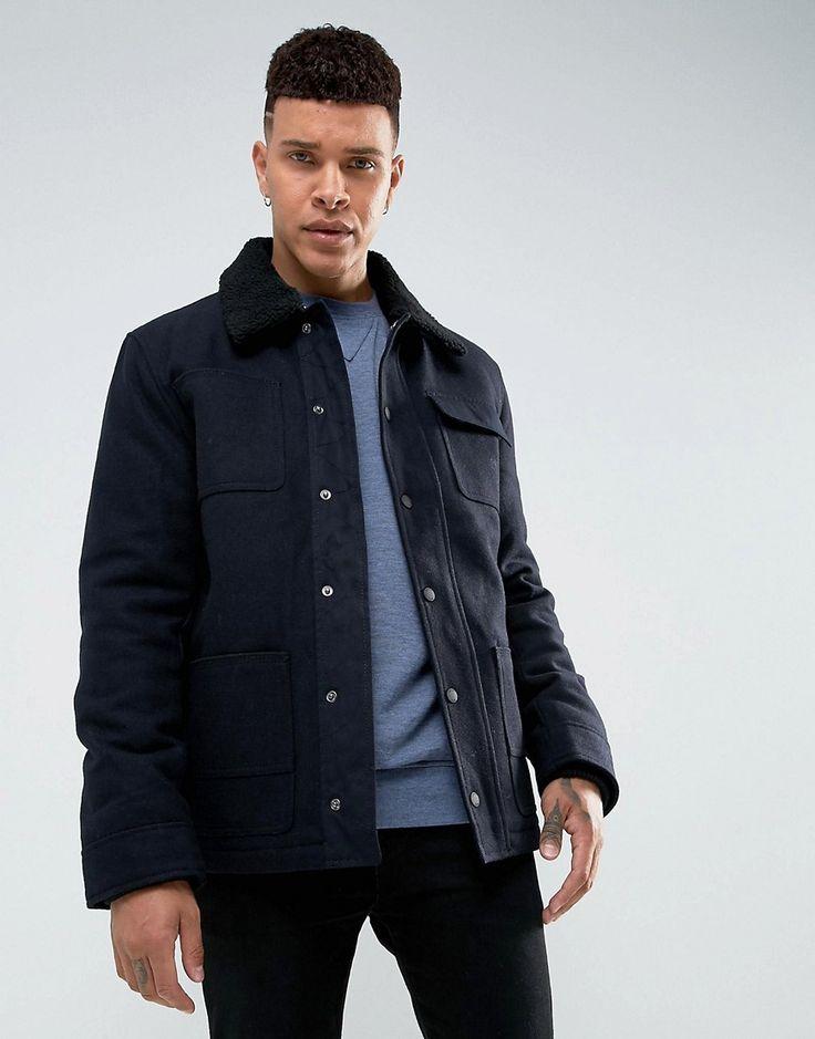 Tokyo Laundry 50% Wool Lined Fleece Collar Jacket - Navy