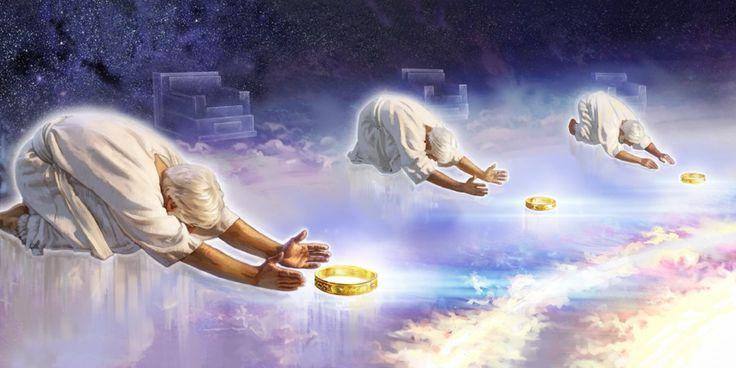 Os 24 anciãos, mencionados em Apocalipse, se prostrando diante do trono de Jeová