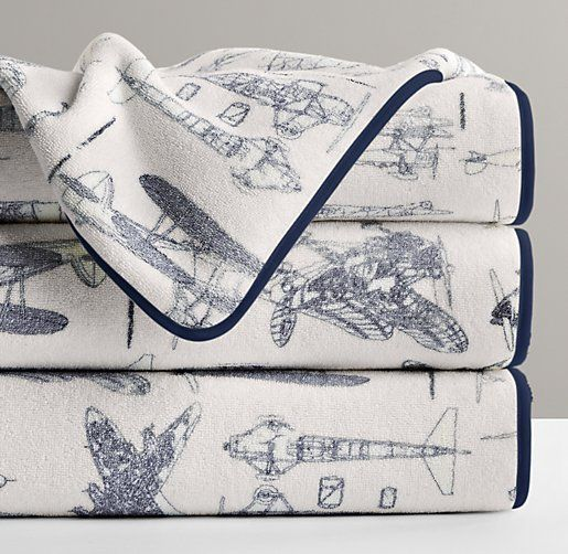 Vintage Airplane Turkish Bath Towel Towels Restoration