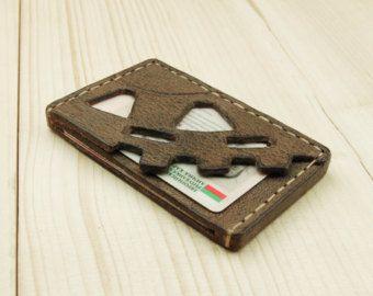 Leather Wallet-Men Wallet-Leather Card Holder Leather-Handmade Red ginger color