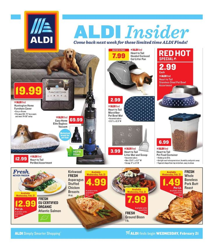 Aldi Weekly ad February 21 – 27, 2018 – Browse Aldi ad Specials and Weekly Fresh Meat Specials from Aldi here. find digital coupons, Aldi weekly specials, Recipe & Bakery Menu Prices, grocery savings, Aldi store location, sale prices, deli, and the great deals from aldi.     ...