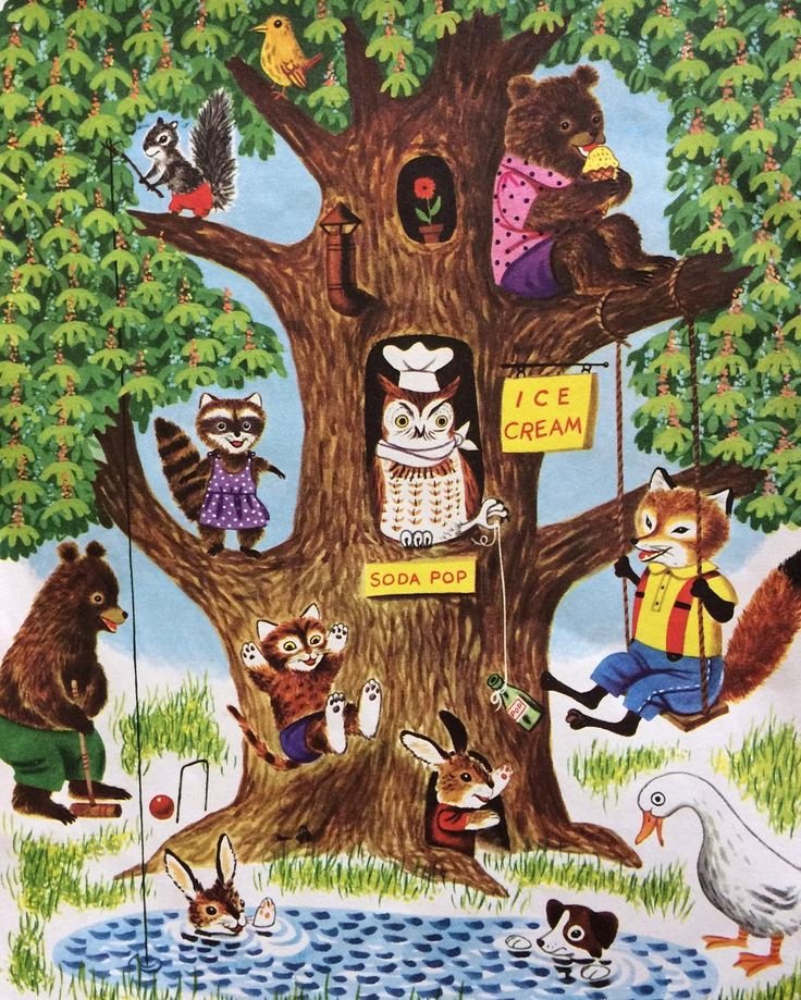 Just another beautiful day in Critterville! Illustration by Richard Scarry (sorry, don't have the book or year.)