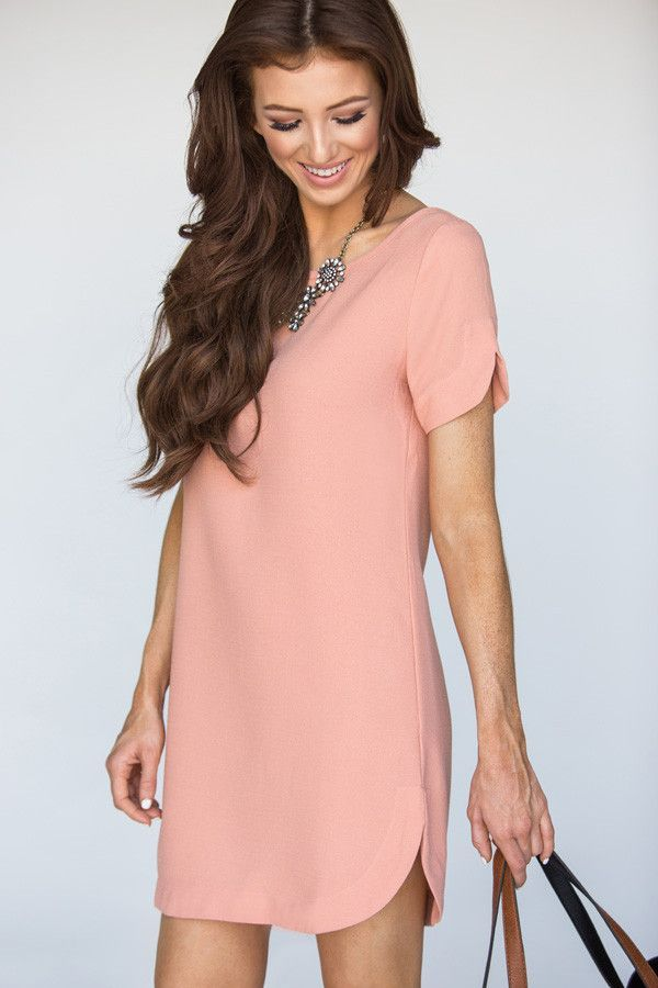 **This item is FINAL SALE CLEARANCE and cannot be returned or exchanged.** This short sleeve shift dress is the perfect shade of peach and so versatile and easy to wear. We love wearing it to the offi