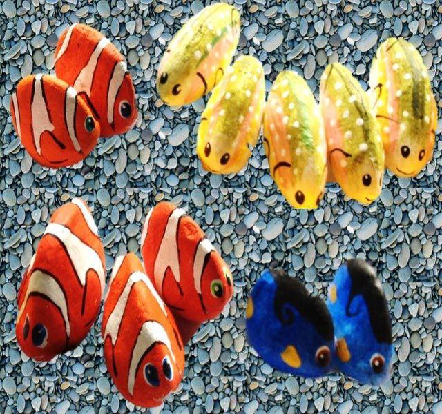 Inspiración para pintar las piedras.: Peces en piedra