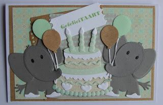 Card by Suzan with Collectables Eline's Elephant (COL1384), Cake (COL1322), Tab with Text UK ( COL1315) and Craftables Tags & Tickets (CR1212) by Marianne Design