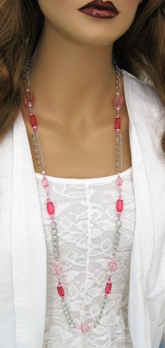 Lunga collana di rosa rosa collana di perline di RalstonOriginals