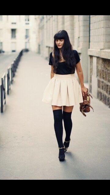 So chic! Skater skirt with thigh high stockings/socks.