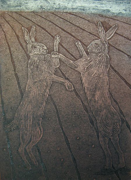 """""""Stags of the Stubble"""" by Hester Cox (collagraph)"""