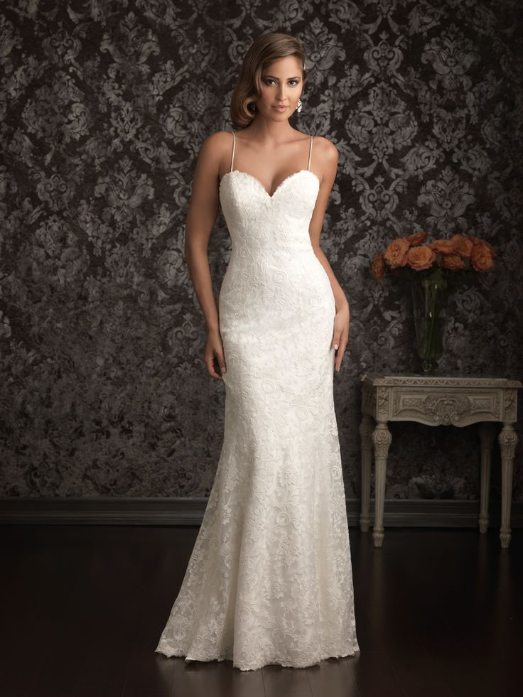 Allure Bridals 9021 - Perfect for any destination. This all-over lace gown is sexy and sophisticated. This gown is lined with charmeuse satin featuring a sweetheart neckline with spaghetti straps and a dramatic low back.  Brides of Melbourne | Sleek and Slinky | Bridal Gown