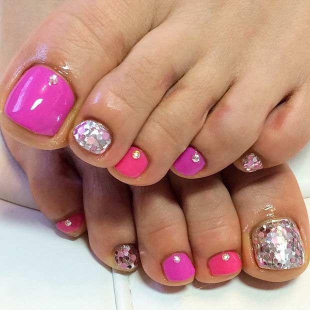 Simple Pink & Silver Glitter Pedicure Design