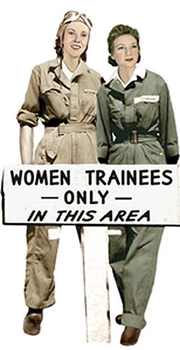 Army issue mechanic's coveralls--worn by the WASP trainees to fly in. They came in ONLY men's sizes--and the trainees had to roll up the sleeves and pants legs.