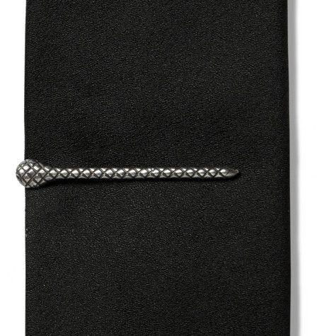 Bottega Veneta Intrecciato-Engraved Silver Tie Clip
