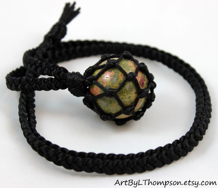 Original art by L. Thompson Unakite Crystal Ball Black Satin Cord Wrapped Healing Necklace - 6 Pointed Star