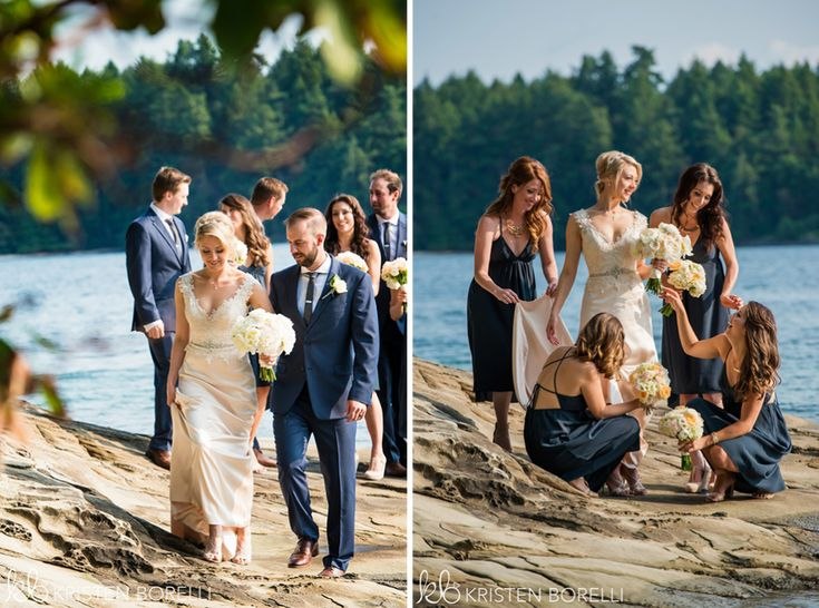 Thetis Island Overbury Resort Wedding. Bridal party on the beach.