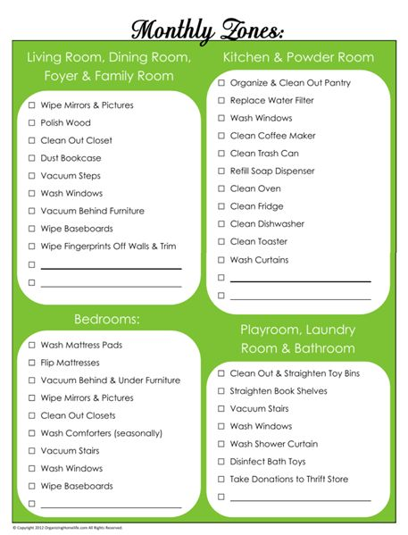 Click to Download My Monthly Zones Chore Schedule, print from a PDF or save to the computer as a PDF when clicking on this image. IDEAL LIST TO FOLLOW AS A MONTHLY CLEANING/CHORES.