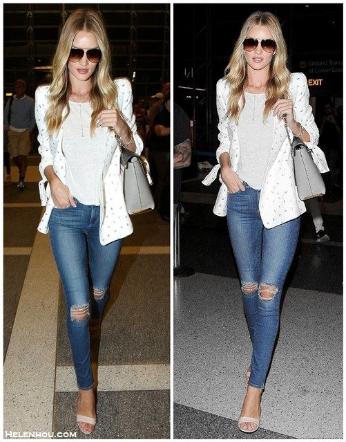Airport Chic: Structured Blazer & Distressed Jeans
