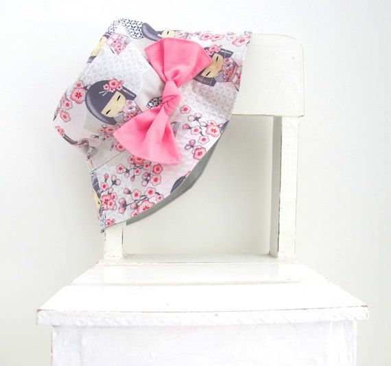 I love this gorgeous blossom and doll fabric, this hat can be purchased for baby, toddler, or child size. #kokeshi #sunhat Sun hat Bucket hat for girls in sweet Japanese by LaLaLaDesigns, $25.99