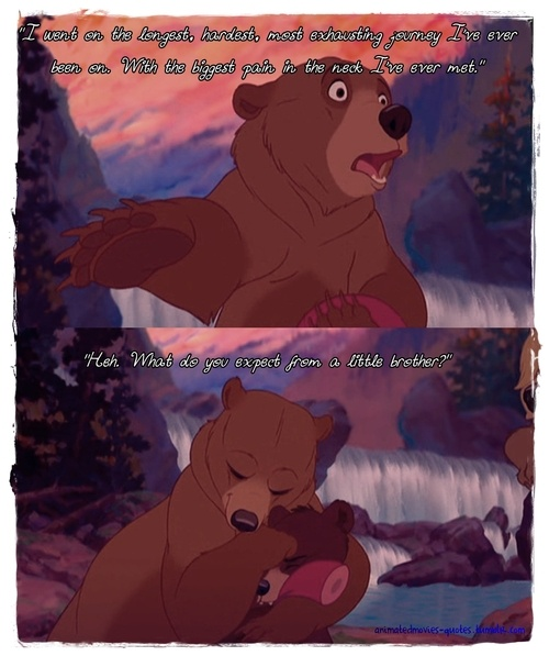 Brother Bear quote. Haha I'm sure sometimes my brother thinks he's got a little brother.