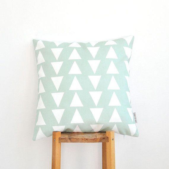 Mint Decorative Pillow Geometric Nursery Pillow door LoveJoyCreate