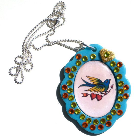 Bird Retro Tattoo Art Pendant Kawaii Rockabilly Necklace