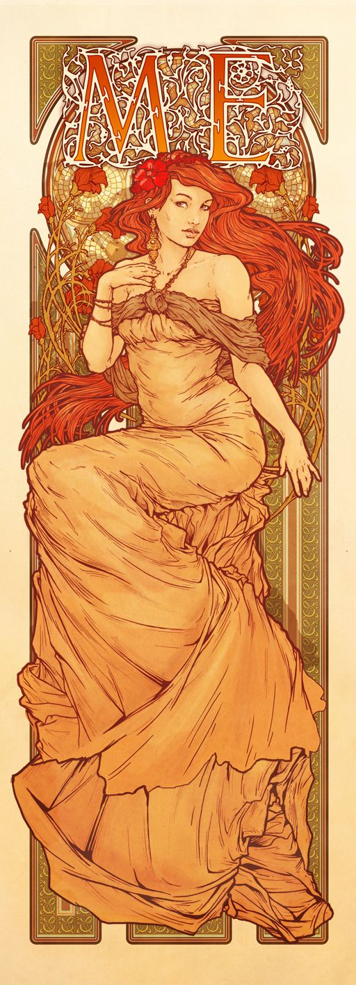 Poster for Australian band 'Me', inspired by the work of Alphonse Mucha - Joe Whyte  http://joewhyte.com.au