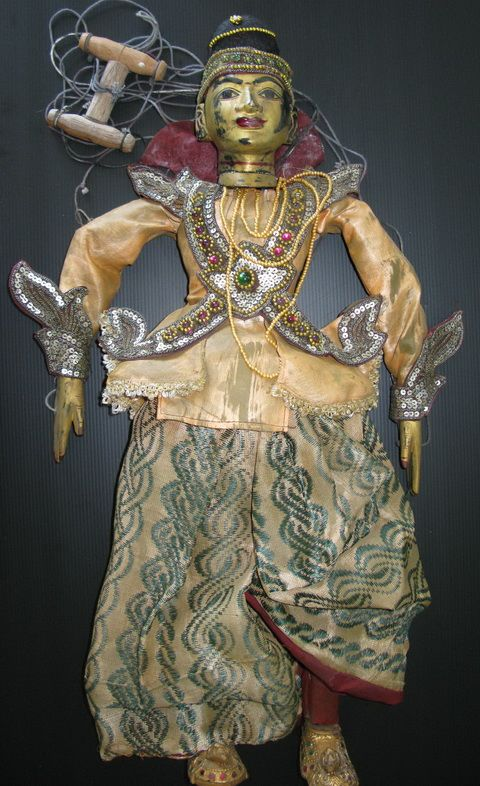 Burmese Puppet Prince Min Tha, the leading character of most puppet shows in Myanmar. He is always accompanied by Princes Minthamee