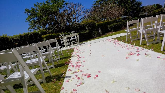 #wedding #outdoor #ceremony #french #provincial #signing #table #whitecarpet #white #tiffanychairs #rosepetals