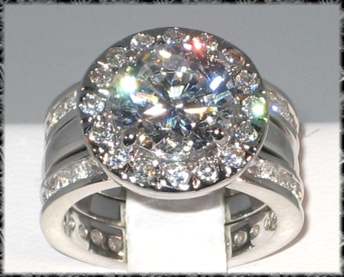 unique engagement wedding ring sets | ... lab Diamond Platinum EP Engagement Bridal Wedding Ring Set - Size 9