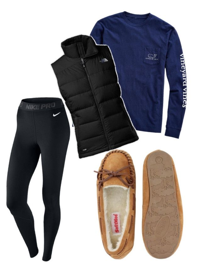 """North face vest outfit"" by oliviagillis130 on Polyvore featuring Vineyard Vines, The North Face and NIKE"