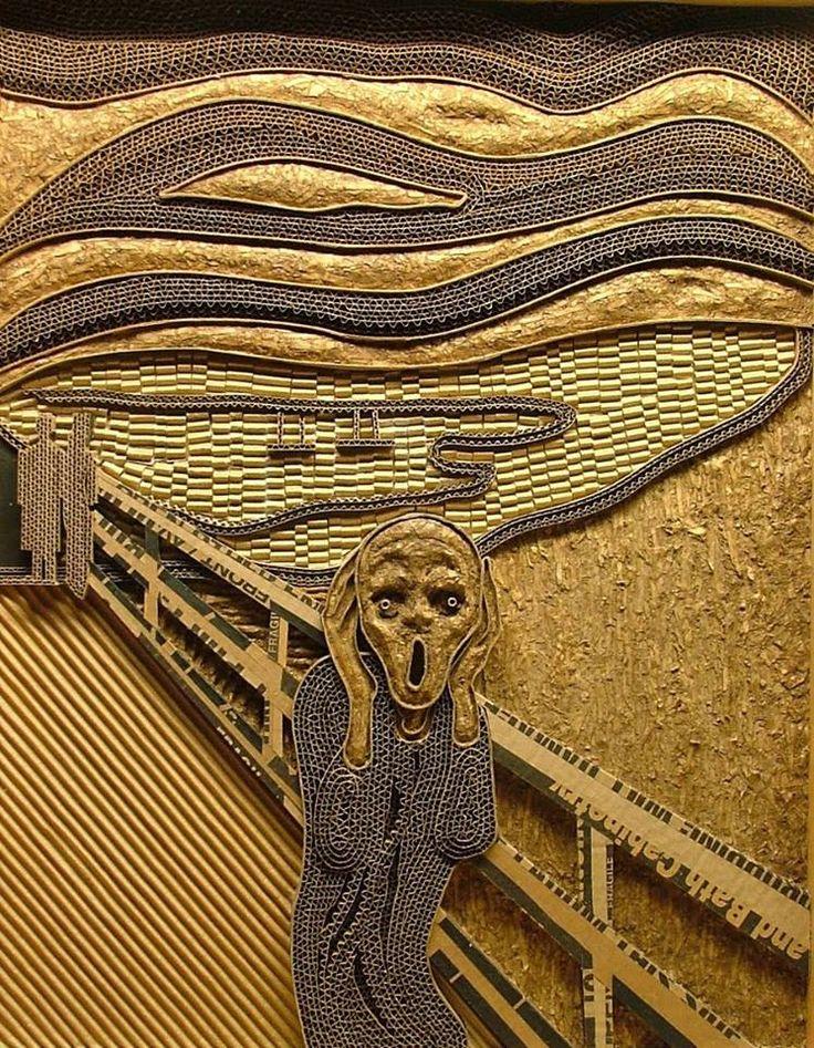 "Cardboard creation of Edvard Munch's ""The Scream,"" by Mark Langan"