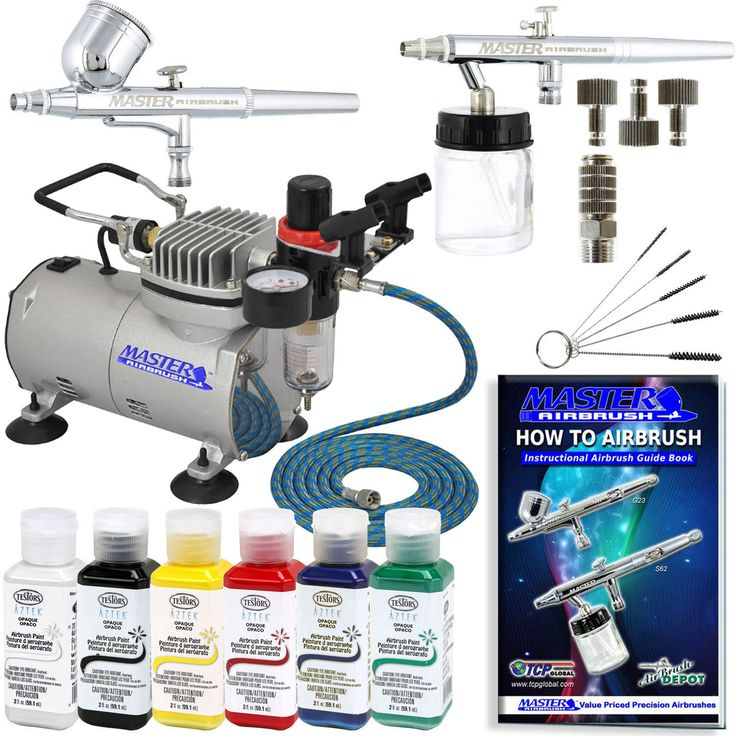 2 Airbrush System Kit W/ 6 Primary Testors Aztek Paint