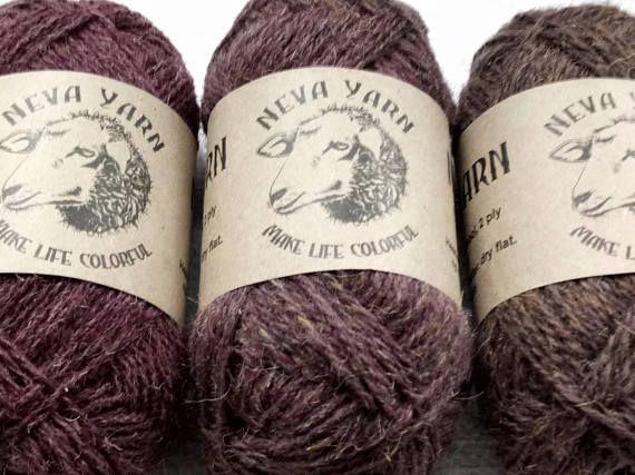 Neva Yarn Set of 3x50g Hand Dyed 100% PURE WOOL YARN Gradient colors