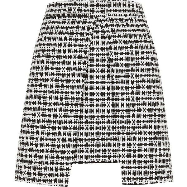 River Island White and black check split front mini skirt ($64) ❤ liked on Polyvore featuring skirts, mini skirts, white, women, tall skirts, white and black skirt, checkered mini skirt, jacquard skirt and mini skirt