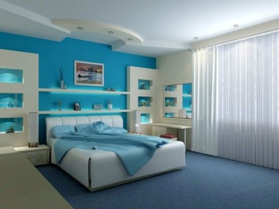 Blue And Turquoise Accents In Bedroom Designs – 39 Stylish Ideas | DigsDigs - THE RECESSED LIGHTED NICHES ARE FANTASTIC.