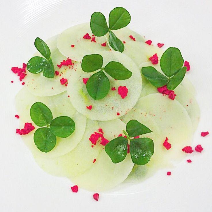 "Apple ""Granny Smith"", cheese ""Tête de Moine"", foie gras, sea buckthorn puree, dried raspberries"