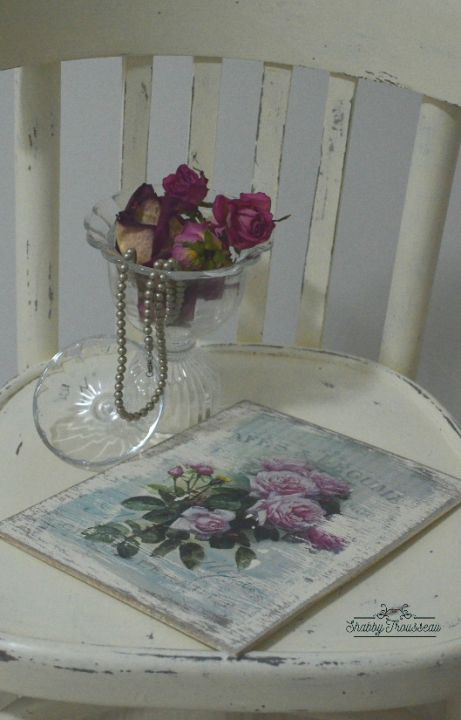 Shabby Chic wood plate - Roses model