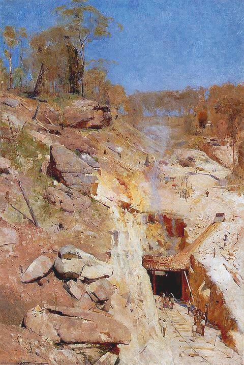 """""""Fire's on"""" by Arthur Streeton. 1891 oil on canvas 183.8 x 122.5 cm"""