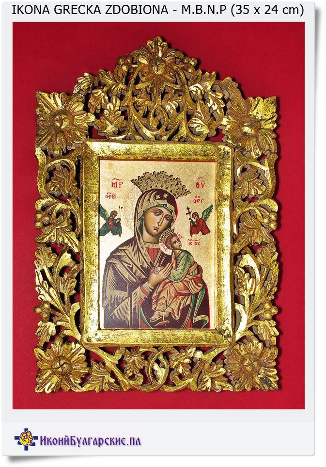 Ikona w rzeźbionej ramie M.B.N.P Help Madonna
