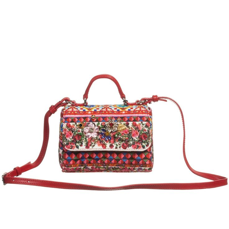 Dolce & Gabbana - Girls Red 'Carretto Con Rose' Shoulder Bag (14cm) | Childrensalon
