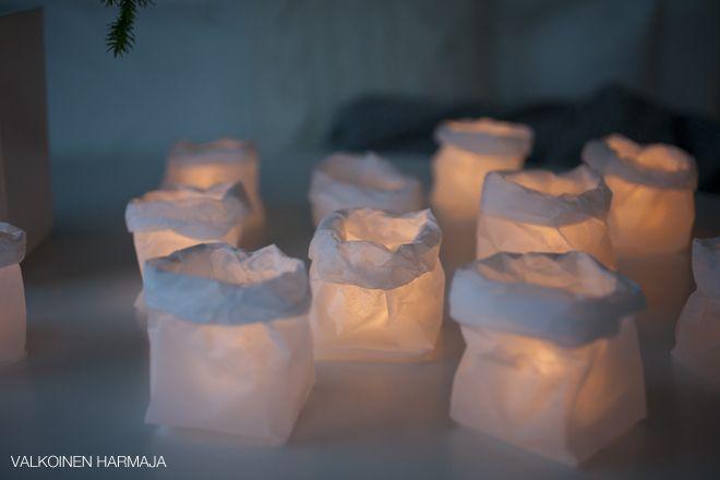 DIY: silkkipaperipussi LED-kynttilälle   Valkoinen Harmaja