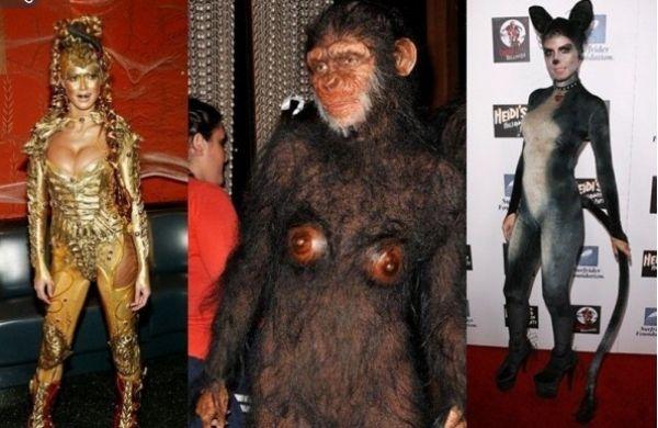Hollywood feiert Helloween-Kostüme-Katzenfrau Affenkostüm