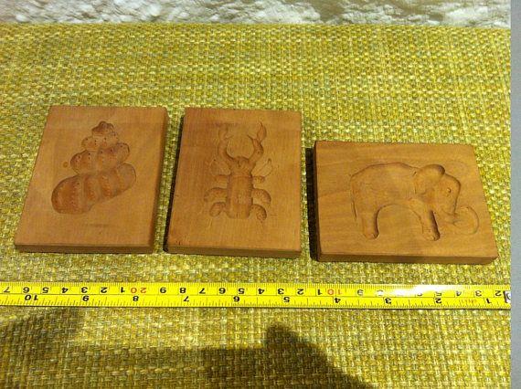 Vintage 3 Stück Holz Model Cookie Molds Mold Formen Springerle