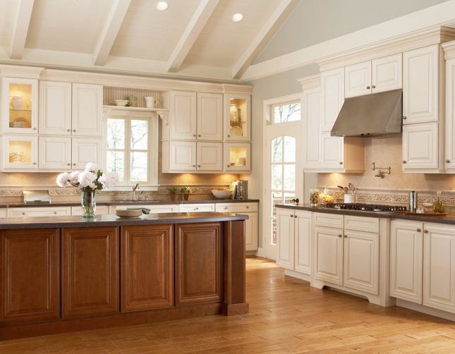 Cabinetry different color of cabinets and island kitchens