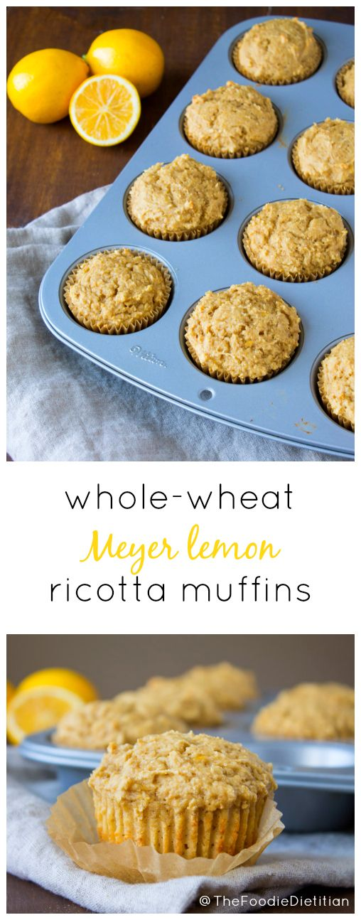 Wholesome, light and refreshing, whole wheat Meyer lemon ricotta muffins are the perfect treat for Mother's Day brunch. | @TheFoodieDietitian