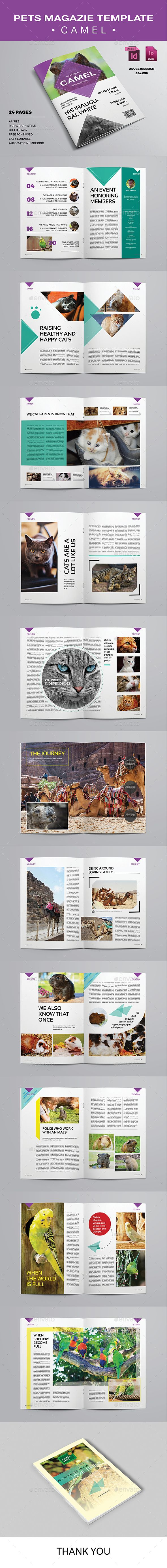 Pets Magazine Template - Camel by malikjazirah01 Pets Magazine Template �20Camel Pets Magazine Template �20Camel, designed using Adobe Indesign format, totaling 24 pages. Minimal an