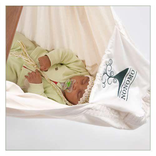 NONOMO® Babywiege | Federwiege | Babyhängematte, 169,90 EUR, #baby #schlafen #kinderzimmer #grün #weiß