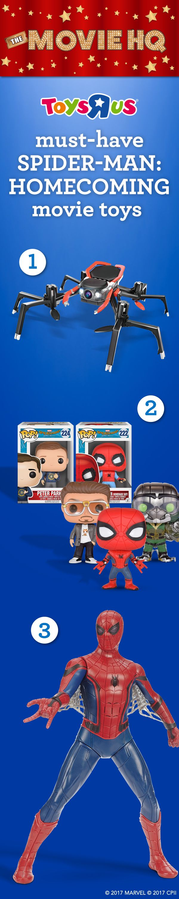"Looking to ensnare some spectacular Spider-Man: Homecoming toys for that special Spider-fan in your life? You can be the hero, and pick up these must-haves in store & online: 1. Official Movie Edition Streaming Video Spider-Drone by Sky Viper; 2. Funko POP! Vinyl figures; 3. 15"" Tech Suit Spider-Man Action Figure. Get the toys, see the movie—in theaters NOW! #TRUMovieHQ"